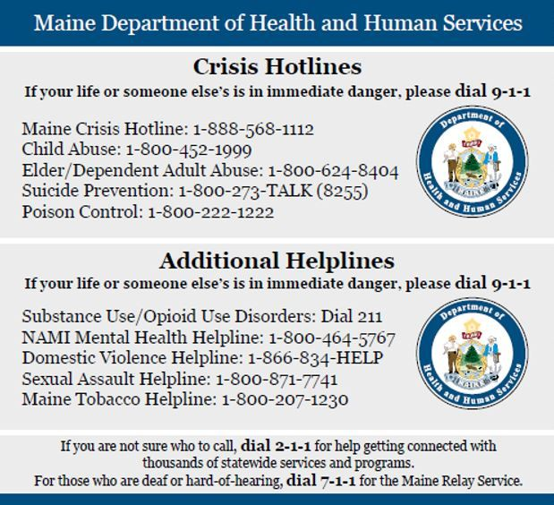 Maine Department of Health and Human Services Hotlines